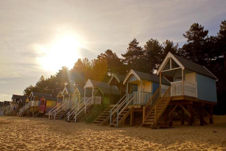 beach, houses, travel, sunset, dusk, sand, landscape, nature