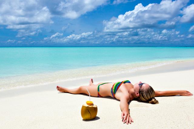 beach vacation, sand, drink, ocean