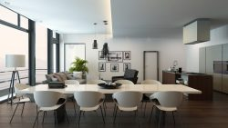 modern, kitchen, dining, living area, white, clean