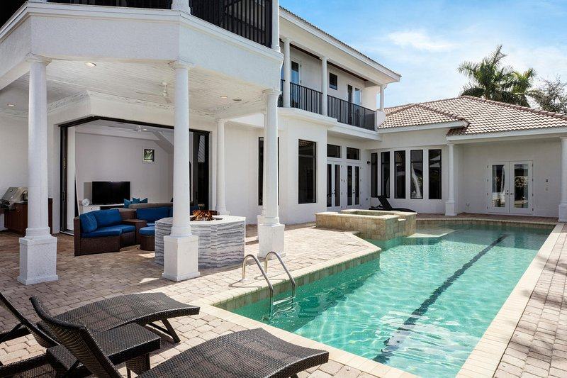 House, pool, fire pit