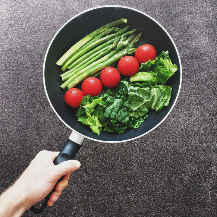 Healthy cooking, greens and veggies