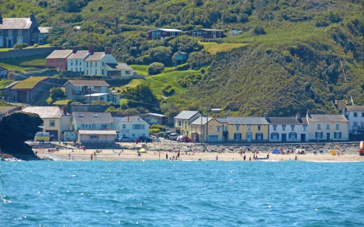 beach, houses, ocean