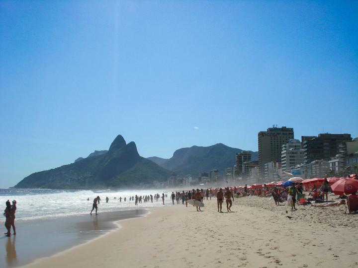 beach, sunshine, water, waves, mountains