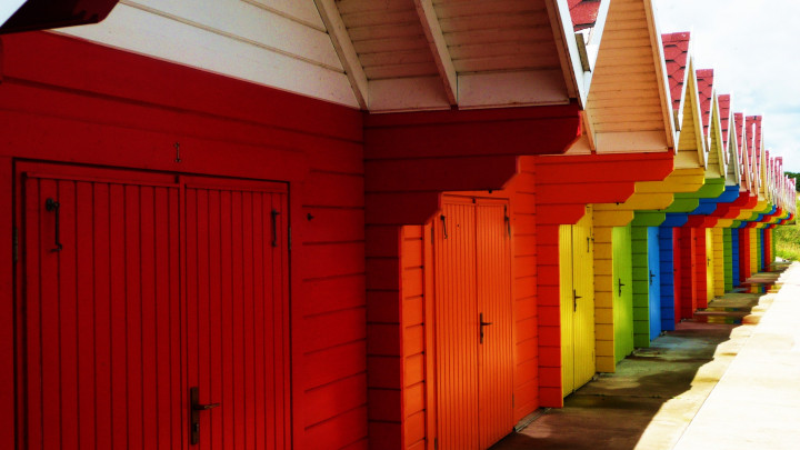 sheds, huts, colorful