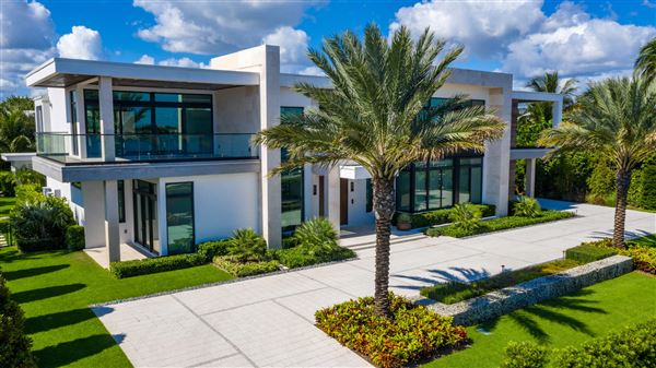 modern house, palm trees,