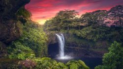 Hawaii, waterfall, sunset, bliss