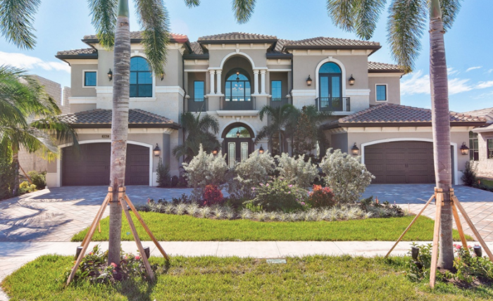 mansion, house, palm trees