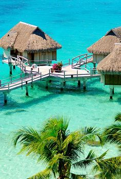 Tropical vacation, ocean, huts