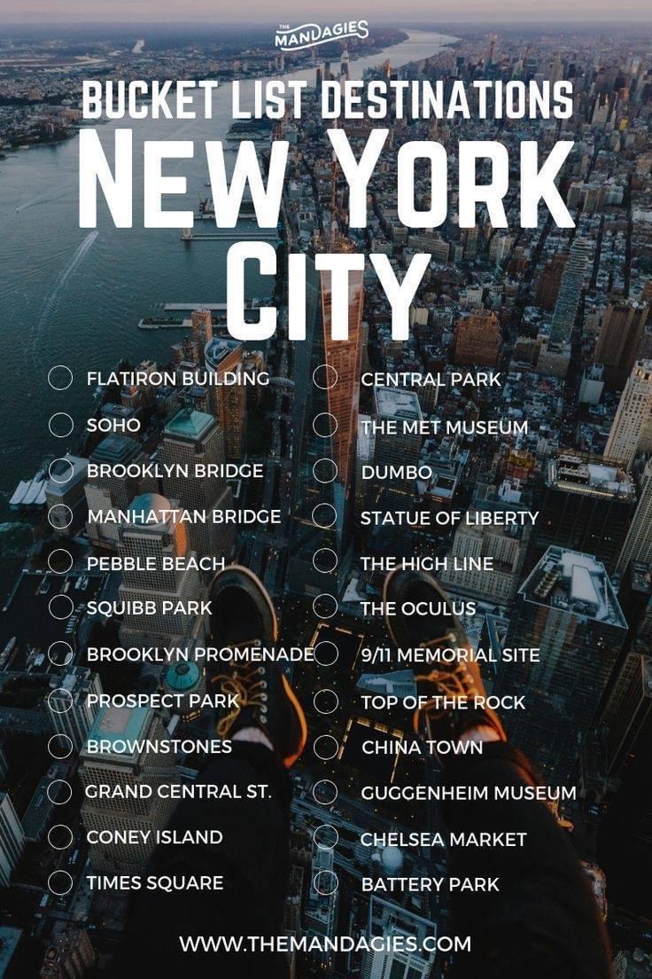 New York, bucket list, vision board, vacation
