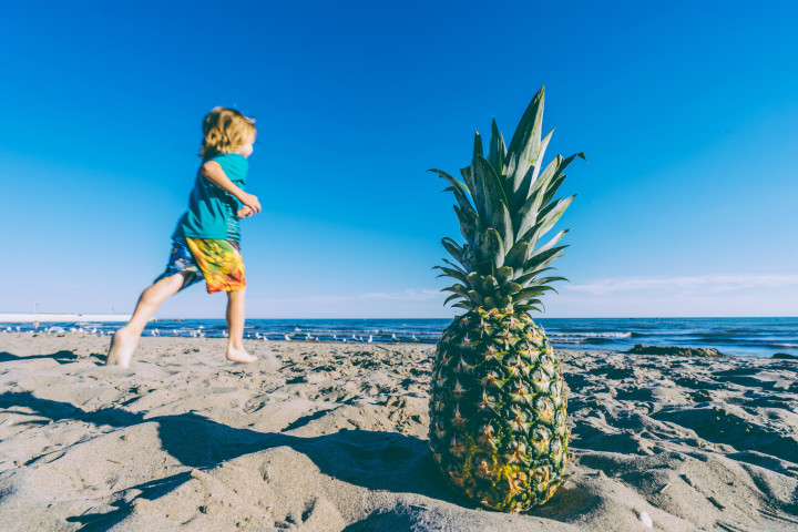beach, sand, ocean, pineapple, child, running