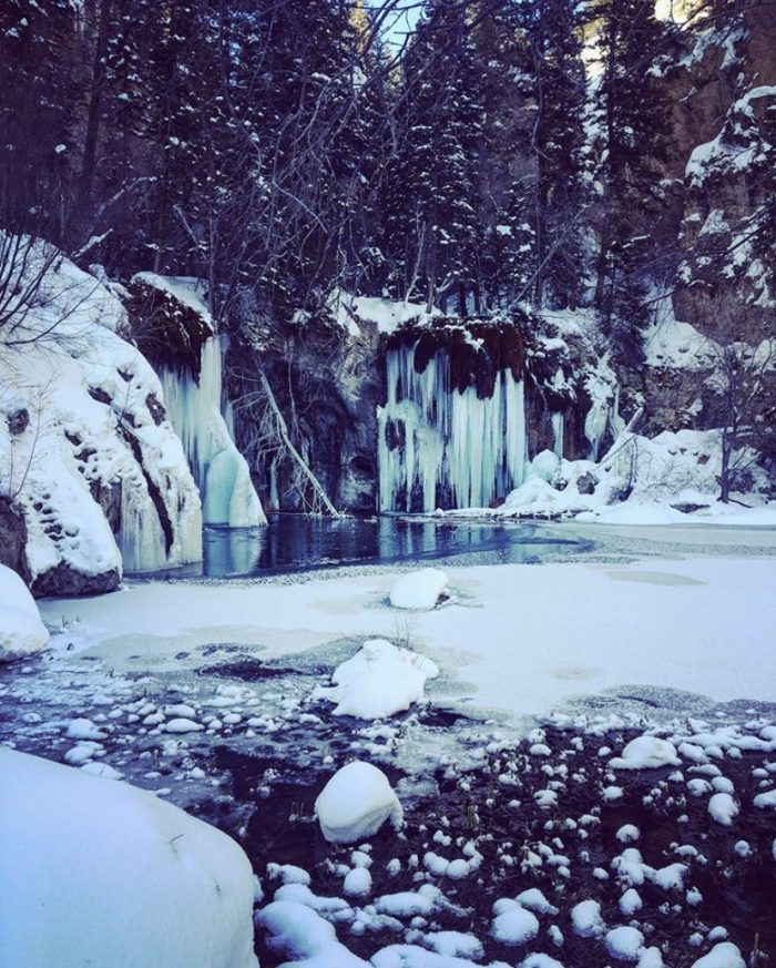 Hanging Lake, winter, Glenwood Springs, Colorado, waterfalls, mountains, vacation, hiking