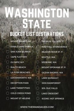 Washington, bucket list, vacation