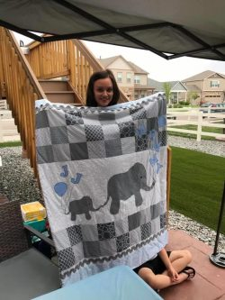 Baby shower, it's a boy, elephant quilt, blue, grey, white