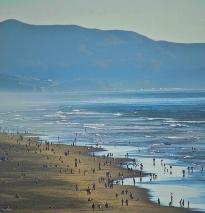 mountain beach, waves, ocean