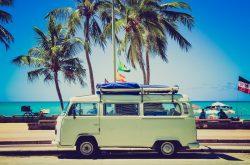 VW van beach, surf