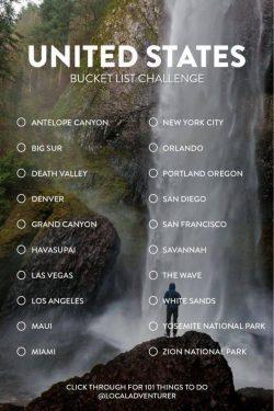 United States, US, bucket list, vision board