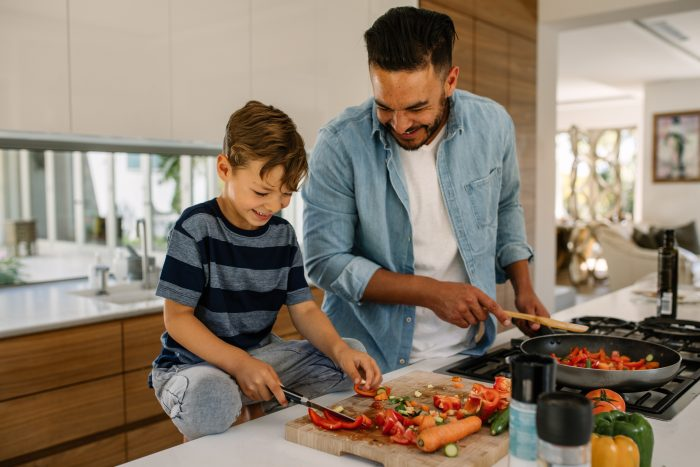 Family cooking, cook, healthy eating, teaching, family fun