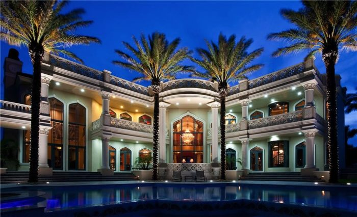 Palazzo, mansion, house, palm trees